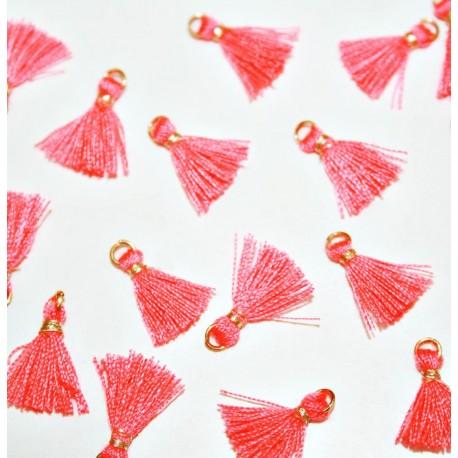 Borla con anilla mini rosa fluor x 5 unidades