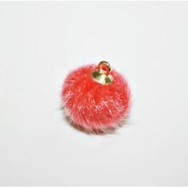 Pompón redondo pelo con anilla coral