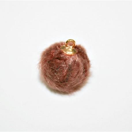 Pompón redondo pelo con anilla visón