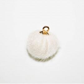 Pompón redondo con anilla blanco roto