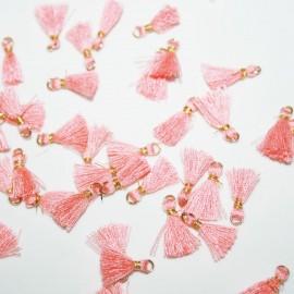 Borla con anilla mini rosa claro x 5 unidades