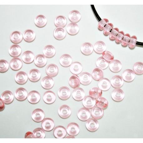 Abalorio donut rosa translúcido bolsa de 10 unidades