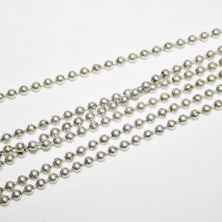 Cadena de bolas bañada en plata de 2,5mm