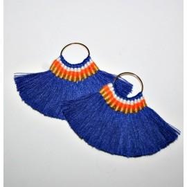 Abanicos pendientes azul x par