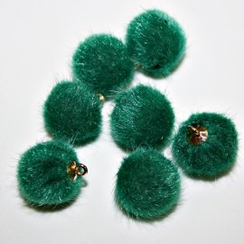 Pompón redondo pelo verde oscuro