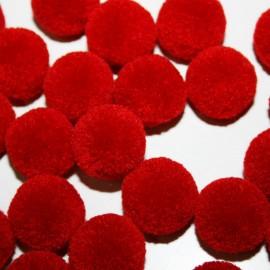 Pompón rojo intenso redondo