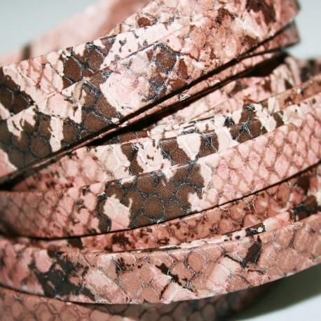 Cuero natural estampado serpiente de 10mm rosa