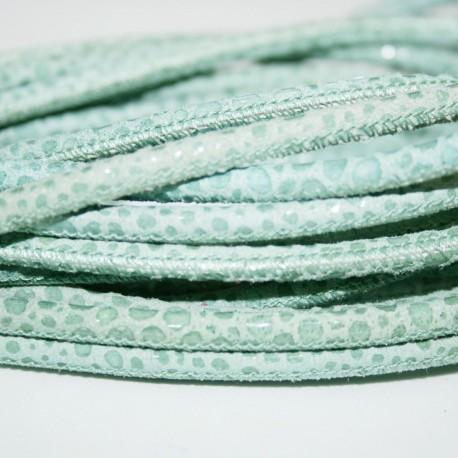 Cuero sintético redondo cosido estampado serpiente verde