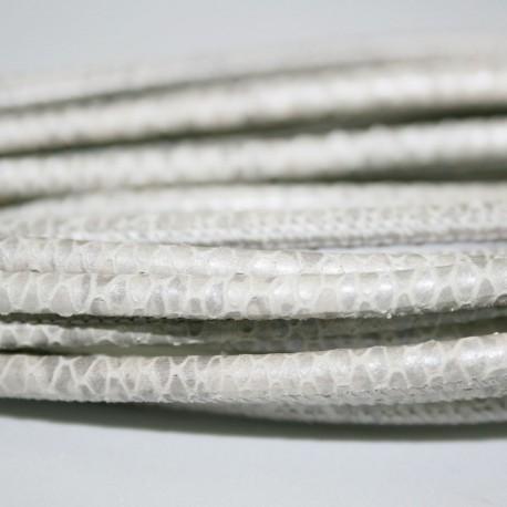 Cuero sintético redondo cosido estampado serpiente blanco