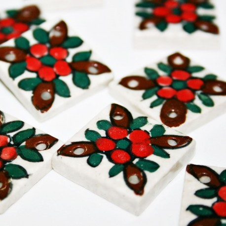 Cerámica tipo mosaico con estampado de flores
