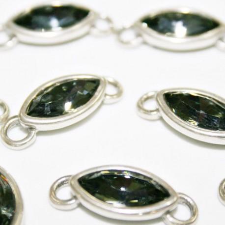 Conector con cristal de Swarovski gris verdoso