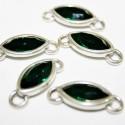Conector con cristal de Swarovski verde esmeralda
