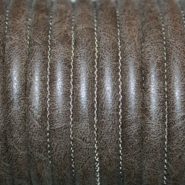 Cuero sintético tubular cosido 6mm marrón choco