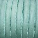 Cuero sintético tubular cosido 6mm verde