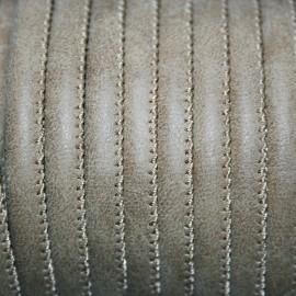 Cuero sintético tubular cosido 6mm topo