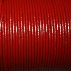 Cuero redondo 2mm rojo oscuro