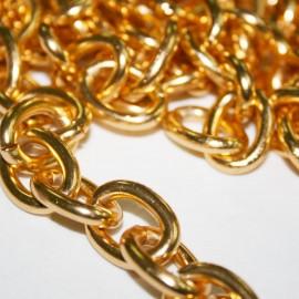 Cadena dorada, eslabón oval de aluminio x metro