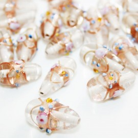 Lágrima artesanal de cristal con decoracíon de flores
