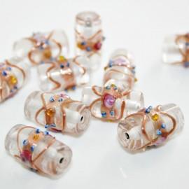Cilindro artesanal de cristal con decoración de flores