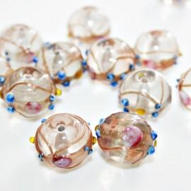 Bola artesanal de cristal con decoración de flores