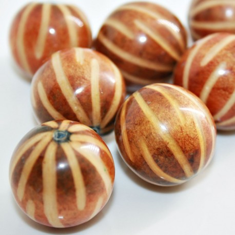 Cuenta madera resinada naranja verdosa redonda