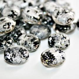 Cristal tipo gragea negro con pan de plata