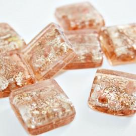 Cristal cuadrado en color salmón con pan de plata