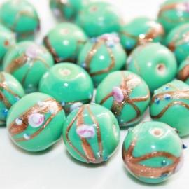 Cristal decorado con flores turquesa verdoso