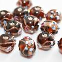 Bola artesanal de cristal con flores, marrón