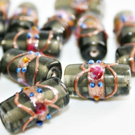 Cilindro artesanal de cristal con flores gris