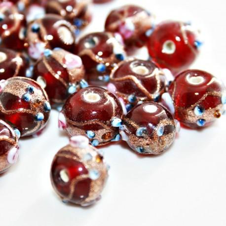 Bola artesanal de cristal con flores, roja