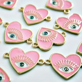 Corazón esmaltado en rosa con ojo conector