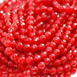 Piedra natural Ágata facetada de 4mm roja