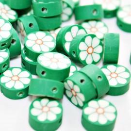 Flor verde de fimo