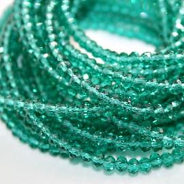 Tira cristal facetado verde esmeralda