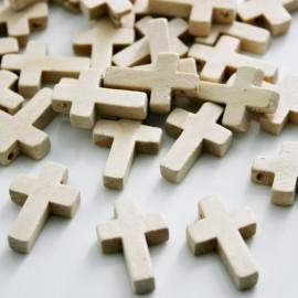 Cruz de madera natural x 20 unidades