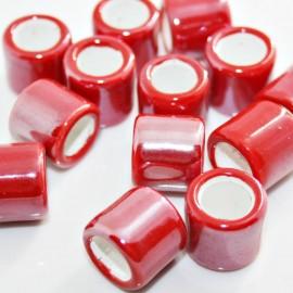 Cerámica cilindro con pase de 10mm roja