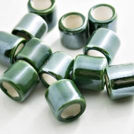 Cerámica cilindro con pase de 10mm verde
