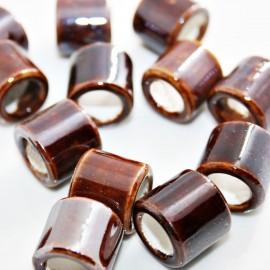 Cerámica cilindro con pase de 10mm marrón