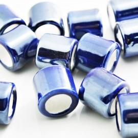 Cerámica cilindro con pase de 10mm azul
