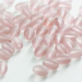 Cuenta de cristal rosa mate translúcido