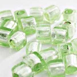 Cubo verde clara con pan de plata