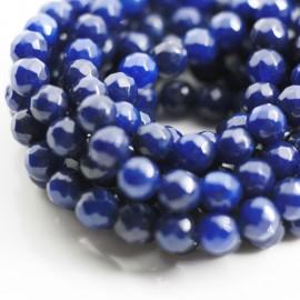 Piedra natural Ágata facetada 8mm azul marino