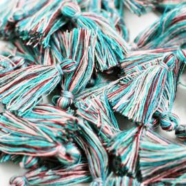 Borla o pompón pequeño multicolor azul
