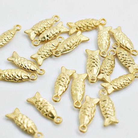 Pez charm baño de oro mate