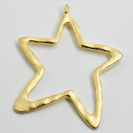 Estrella grande calada baño de oro mate