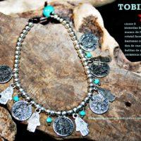 Tobillera o pulsera con monedas y manos de Fátima con estrella de zamak bañado en plata.