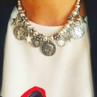 Nuevo collar Boho con piezas de zamak bañadas en plata...