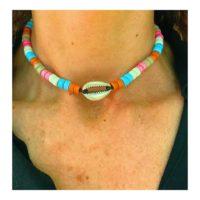 Collar/Gargantilla con concha bañada en plata y cerámicas de colores